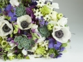 purple, white and green hand-tied bouquet photo Joni Shimabukuro