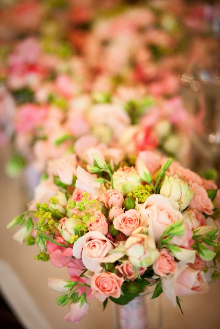 Tags: bridal bouquet, bridesmaid's bouquets, centerpieces, pink flowers,