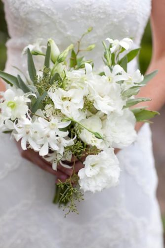 bridal bouquet of dendrobrium orchids, lisianthus and eucalyptus berries, Viewpoint Inn, Françoise Weeks