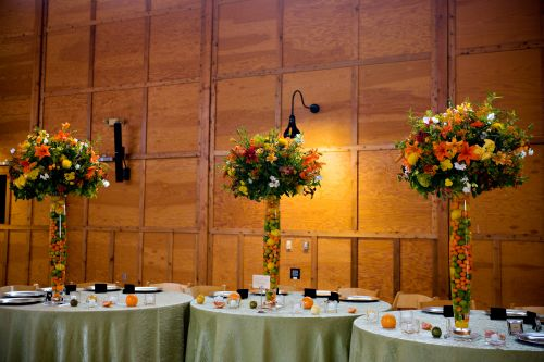 tall arrangement in vase filled with citrus fruits for the head table, Oregon Gardens, Françoise Weeks.bmp