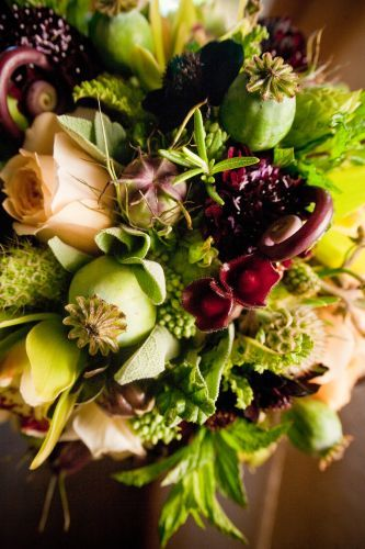 bridal bouquet with chocolate, burgundy, butter and chartreuse flowers 2, Overlook H