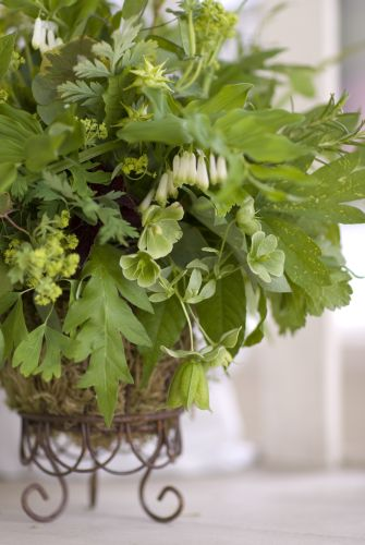 centerpiece of green spring flowers and texture, Françoise Weeks