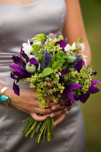 green and purple bouquet with purple flowers and texture, Ponzi Vineyard, Françoise Weeks 2-1