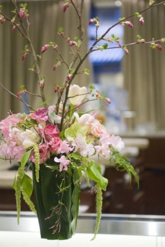 pink spring arrangement with blooming branches, Françoise Weeks