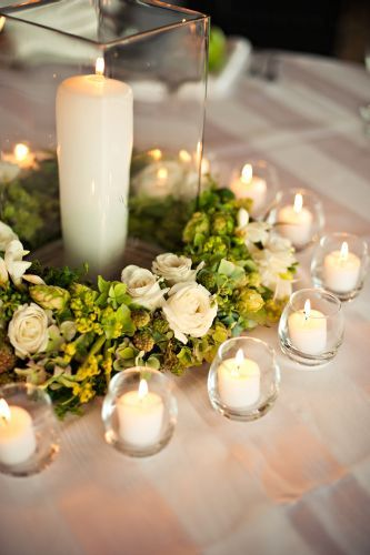flower wreath and candles,Surfsand Hotel, Françoise Weeks