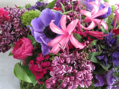 lilac,nerine lilies, ranunculus, anemones and  texture, Françoise Weeks