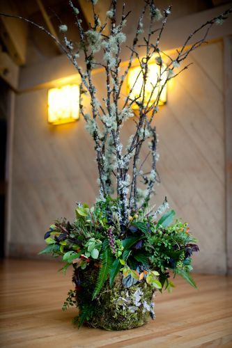 woodland arrangement with lichen covered branches, Timberline Lodge, Françoise Weeks
