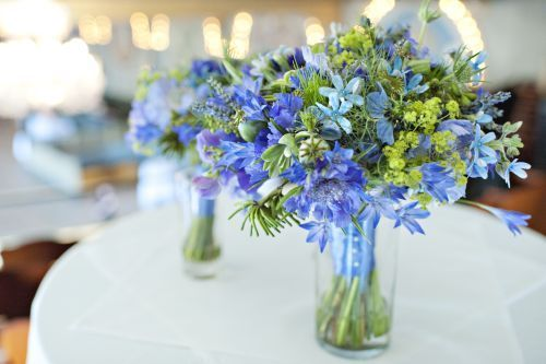 blue bridal bouquet with tweedia, brodeia, scabiosa, nigella & texture, Françoise Weeks