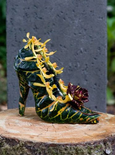 botanical shoe with croton leaves, orchids and rose, Françoise Weeks