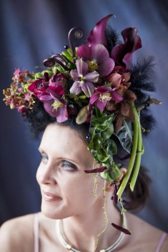 burgundy headpiece  with orchids, callas, hellebore and texture, Françoise Weeks