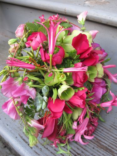 pink whimsical bouquet with sweetpeas, hellebore, roses, nerine, cyclamen, texture, Françoise Weeks