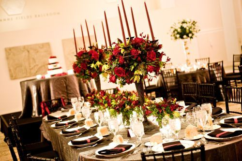 tall candelabras with red flowers plus low arrangements for head table 1, Art Museum, Françoise Weeks