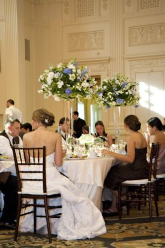 tall centerpieces for the head table, Governor Hotel, Françoise Weeks