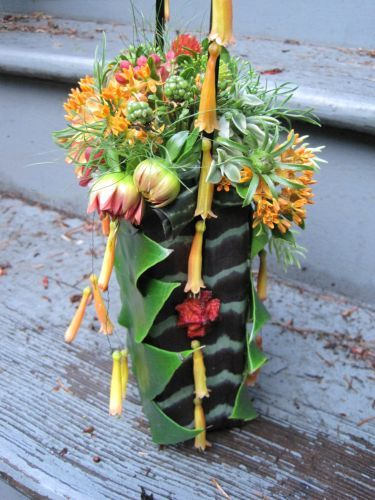 textured fall purse with monstera and bromeliad leaves, Françoise Weeks