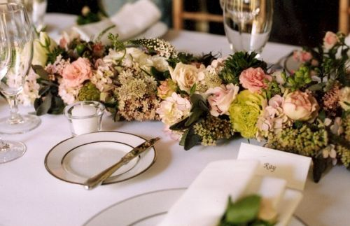 white and blush flower garland for head table, Françoise Weeks