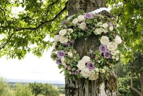 white and lavender wreath with roses, hops and texture, Françoise Weeks
