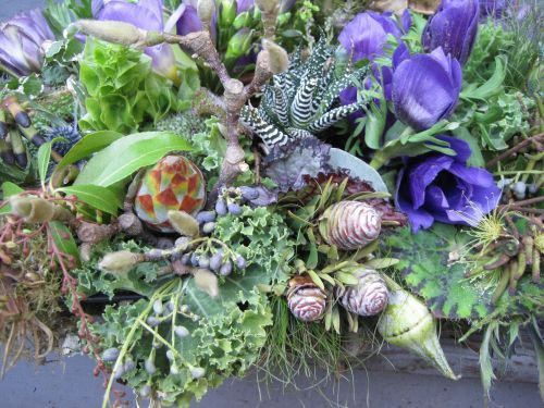 woodland centerpiece with blue flowers, texture and succulents, Françoise Weeks