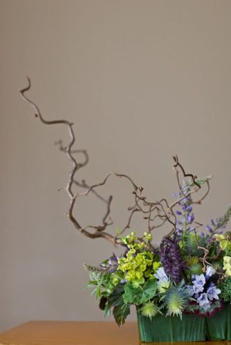 woodland with lupins, lavender, euphorbia, texture, Françoise Weeks
