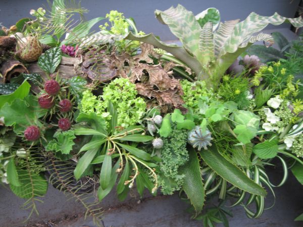f woodland arrangement with hellebore, viburnum, herbs, berries, ferns, lily of the valley, Françoise Weeks