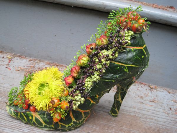 botanical shoe with eucalyptus pods, elderberries, rosehips, Françoise Weeks