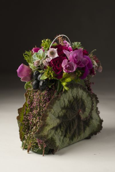 botanical  purse with begonia leaf, Françoise Weeks
