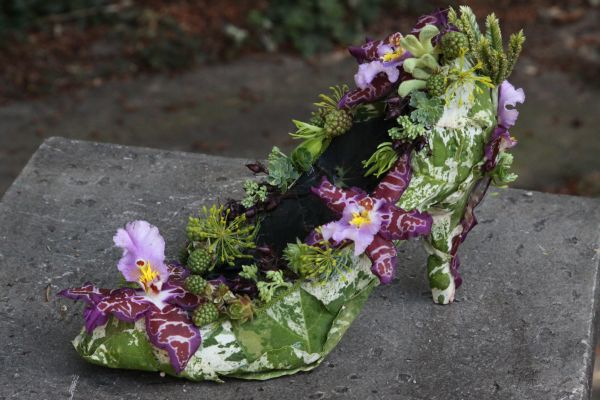 botanical shoe with orchids and blackberries, Françoise Weeks