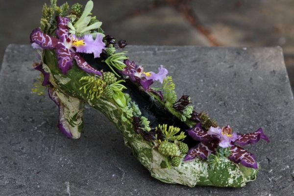 botanical shoe  with purplr orchids and texture, Françoise Weeks