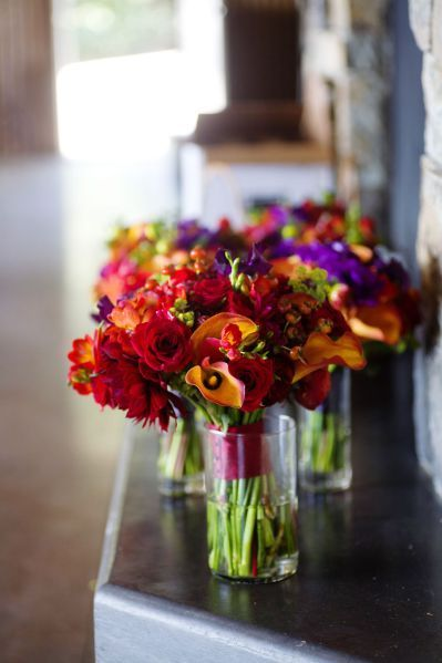 bright orange and red bouquets, George Crest Vineyard, Françoise Weeks
