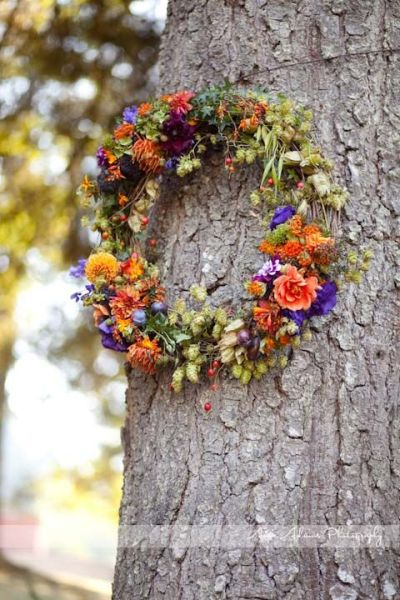 grapevine wreath with orange and purple flowers 1, Françoise Weeks