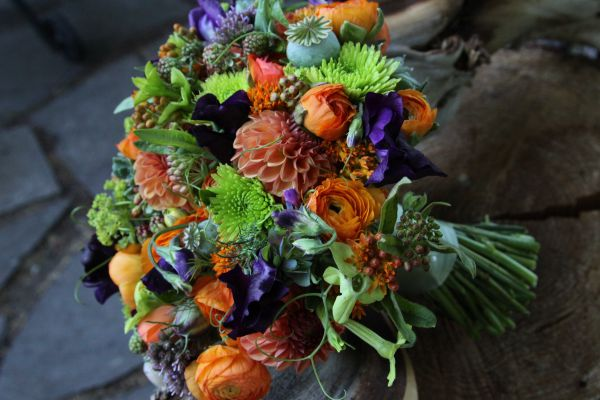 orange and purple bridal bouquet 1 , Françoise Weeks