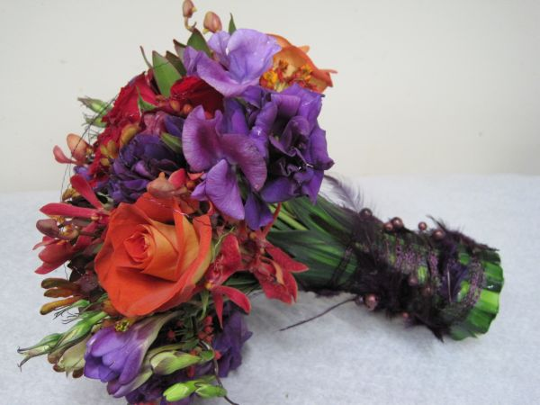 orange and purple bridal bouquet , Françoise Weeks