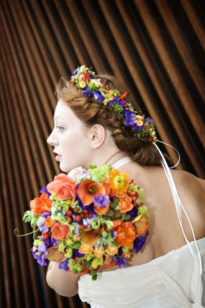 orange and purple bridal bouquet and headwreath, Ecotrust, Françoise Weeks