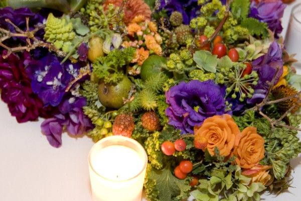 orange and purple bridal centerpiece, Ecotrust, Françoise Weeks