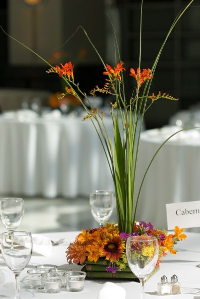 orange and purple flower centerpiece, Montgomery Park, Françoise Weeks