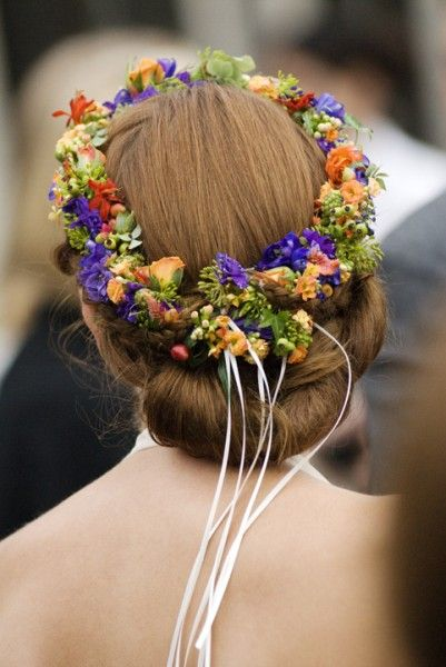 orange and purple headwreath, Ecotrust, Françoise Weeks
