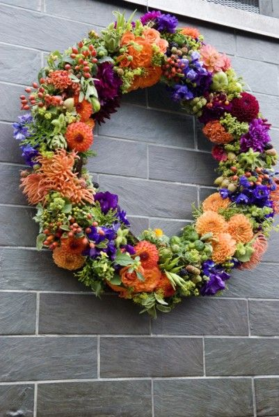 orange and purple wreatht, Ecotrust, Françoise Weeks
