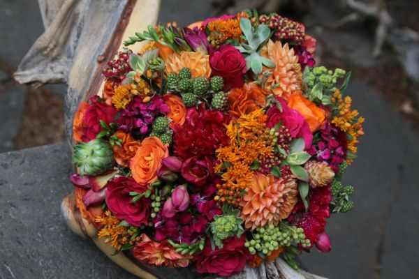 orange, fushia and green hand-tied bouquet with berries, Françoise Weeks