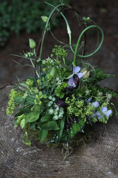 textured arrangement with blueberries and accent of blue flowers, Françoise Weeks