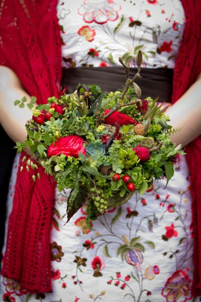woodland bouquet with red flowers, Timberline Lodge, Françoise Weeks