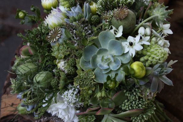 green bouquet with white accents 1, Françoise Weeks
