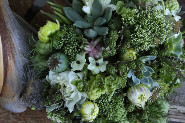 green bouquet with white accents, Françoise Weeks