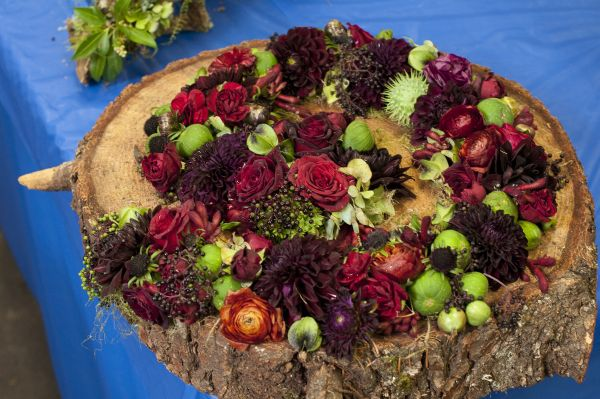 burgundy and green spiral with dahlias and texture, Françoise Weeks