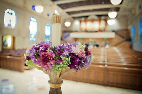 candelabra arrangement with purple flowers, St Mary's cathedral, Françoise Weeks