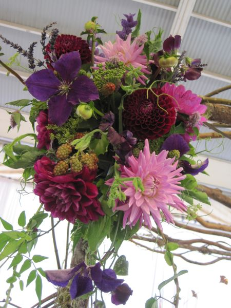 cascading arrangement for archway, Double Tree Hotel, Françoise Weeks