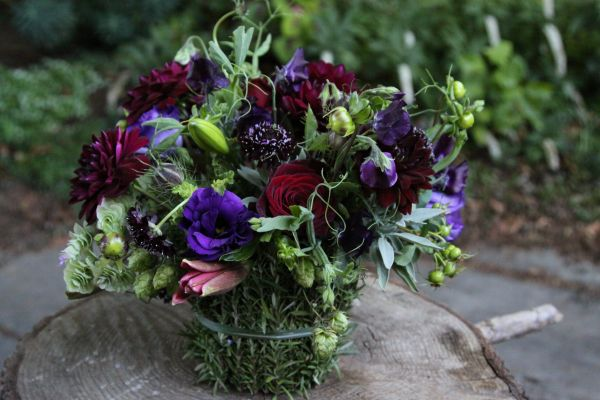 jewel toned arrangement with hops in rosemary container, Françoise Weeks