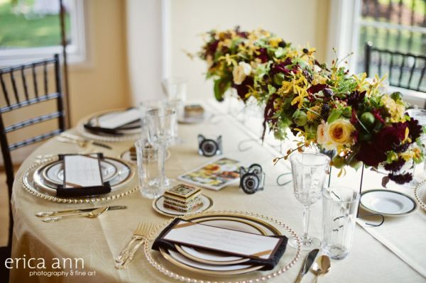 long centerpiece with chocolate and butter yellow flowers and texture, mansion at the bayou, Françoise Weeks