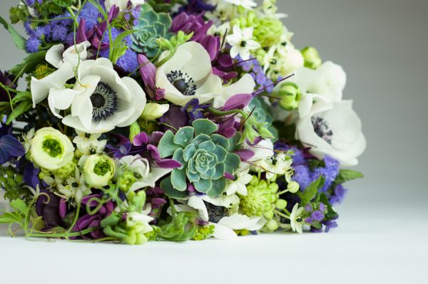 purple and white hand-tied bouquet, Françoise Weeks