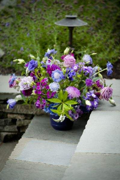 purple arrangement  with dahlias, Françoise Weeks