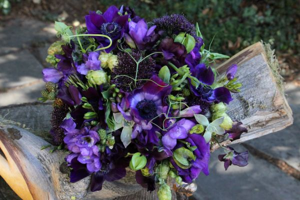 purple bridal bouquet with hops, Françoise Weeks