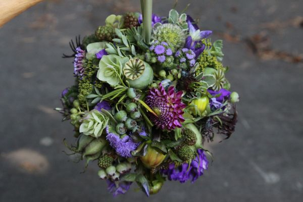 purple pomander with dahlias, Françoise Weeks